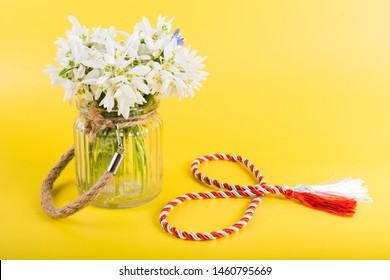 """Spring time flowers like snowdrops, hyacinth and roses, isolated on yellow simple background, spring symbol and traditional romanian """"Martisor"""", """"1 martie"""" festive on 1st of march"""