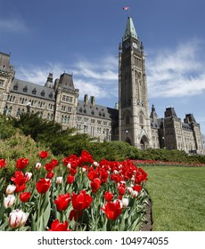 Spring Time On Parliament Hill Ottawa During The Spring Tulip Festival