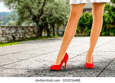 Spring time and slim woman legs with red heels. Free space for your decoration.