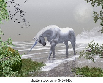 Spring time in the snow mountains , through the trees a Unicorn stands in the cold water and drinks. Illustration is textured