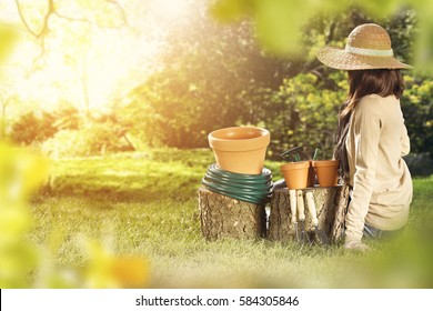 spring time and woman in garden