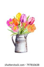 Spring tulip flowers in bintage jar. Watercolor