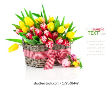 spring tulips in wooden basket, on white background. happy mothers day, romantic still life, fresh flowers