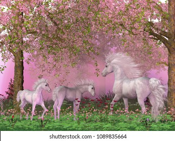 Spring Unicorns 3D illustration - A mother white unicorn frolics with her two foals under spring cherry trees in full blossom.