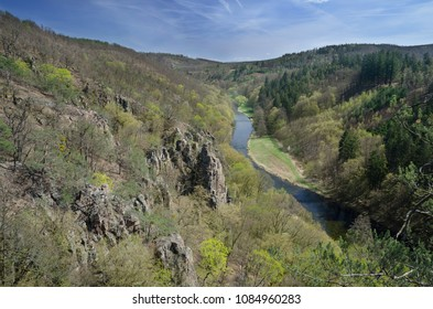 Spring valley landscape with Jihlava river and Oak forest