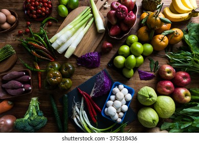 spring vegetables and fruits