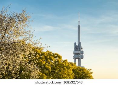 Spring view of famous Zizkov TV tower from Parukarka park, Prague, Czechia