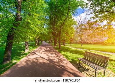 Spring view in Letna Park, Prague, Czech Republic. Spring in Prague (Praha), beautiful Letna park (Letenske sady) in sunlight, sunny landscape, popular tourist destination, Prague, Czech Republic - Shutterstock ID 1387901954