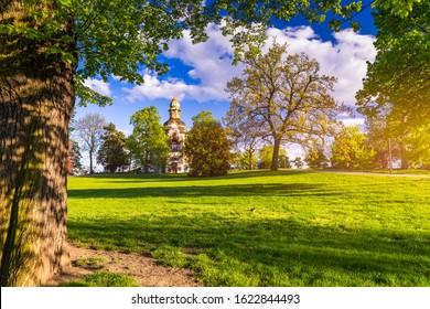 Spring view in Letna Park, Prague, Czech Republic. Spring in Prague (Praha), beautiful Letna park (Letenske sady) in sunlight, sunny landscape, popular tourist destination, Prague, Czech Republic - Shutterstock ID 1622844493