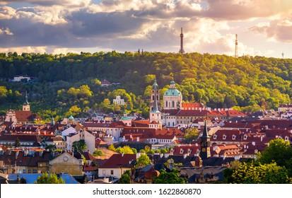 Spring view in Letna Park, Prague, Czech Republic. Spring in Prague (Praha), beautiful Letna park (Letenske sady) in sunlight, sunny landscape, popular tourist destination, Prague, Czech Republic - Shutterstock ID 1622860870
