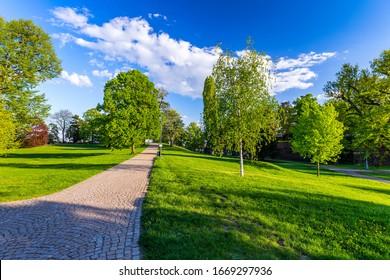 Spring view in Letna Park, Prague, Czech Republic. Spring in Prague (Praha), beautiful Letna park (Letenske sady) in sunlight, sunny landscape, popular tourist destination, Prague, Czech Republic - Shutterstock ID 1669297936