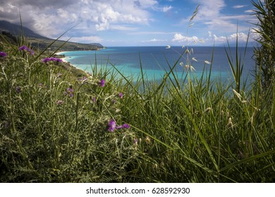 A spring view on the south coast of Greek Island Kefalonia looking towards Lourdata.