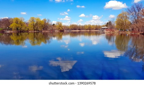 Spring view of the pond in Unionville, Canada.