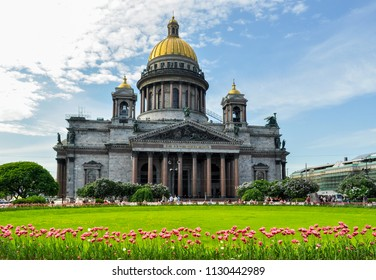 Spring view of Saint Isaac's Cathedral, Saint Petersburg, Russia