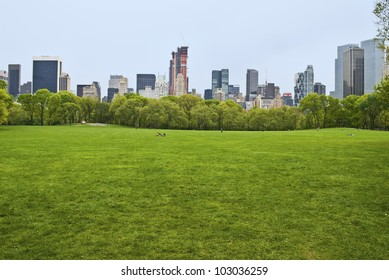 """""""Spring View Sheep Meadow"""" The huge lawn of Sheep Meadow in Central Park on a quiet Spring Day in Manhattan."""