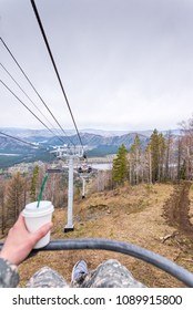Spring view from the ski lift to the mountains, Russia Altai Manzherok May 2018