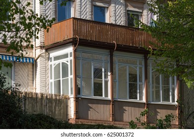 in spring view at south german historical city facades with balcony