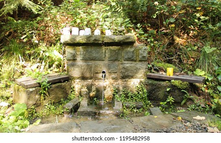spring of water with some mugs on the well, Beskydy mountains, Czech Republic
