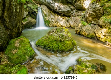Spring waterfall in Romania, when the waters are fast since the melting of snow