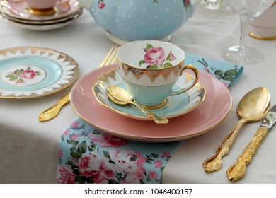 Spring wedding garden party place setting - pink and blue vintage tea sets, plate, teapot gold cutlery flatware - high tea party