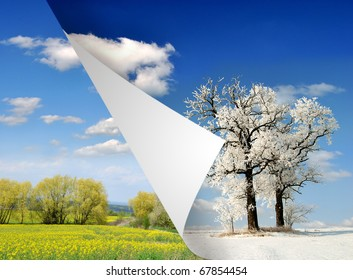 spring and winter landscape