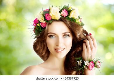 Spring woman Young  Girl flowers Beautiful model wreath bracelet Bride bridesmaid makeup spa Lady make up Mascara lashes lipstick lips eye shadow shiny hair manicure nail polish Products Treatment