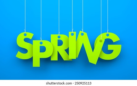 Spring word hanging on a strings