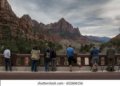 Springdale, Utah: March 10, 2017: Photographing The Watchmen at Sunset is a tourist hot spot