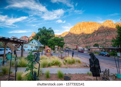Springdale, Utah, USA - JULY 8, 2016: A small local town near the Zion National Park entrance