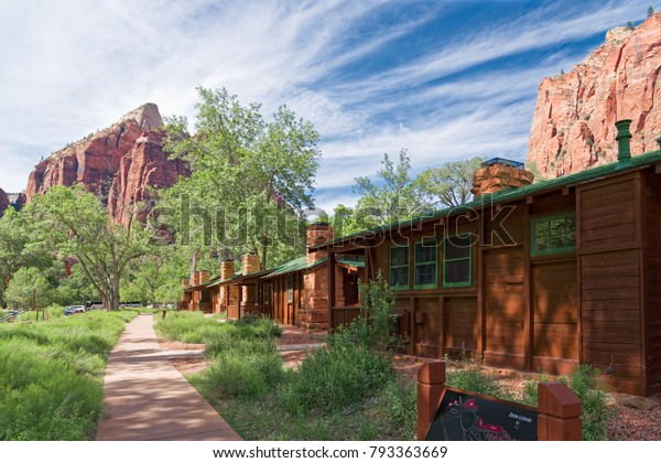 Springdale, Utah, USA - June 3, 2015: Zion Lodge at Zion National Park near Springdale, Utah. Tourists stop and rest at Zion Lodge.