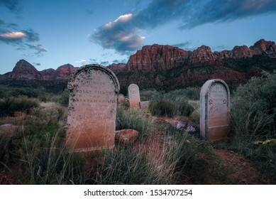 Springdale, Utah, USA - October 21, 2018 : Historic pioneer cemetery in Springdale located at the entry to the Zion National Park, photographed during the blue hour.