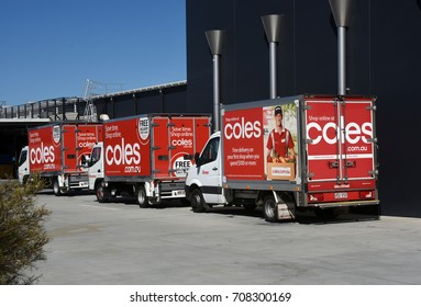 Springfield, Brisbane, Australia. August 2017 - editorial use only: Coles Supermarkets delivery vans/trucks for online shopping service at dispatch and collection depot in Orion Centre.