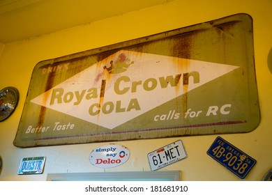 SPRINGFIELD, OR - DECEMBER 20, 2013: A vintage Royal Crown Cola sign displayed on the wall of a restaurant.