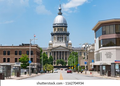 SPRINGFIELD, IL - JUNE 19, 2018: Illinois State Capitol from East Capitol Avenue