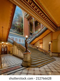 SPRINGFIELD, ILLINOIS - AUGUST 11: Grand staircase of the Illinois State Capitol building on August 11, 2014 in Springfield, Illinois