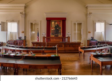 SPRINGFIELD, ILLINOIS - AUGUST 11: House of Representatives chamber in the Old Illinois State Capitol building on August 11, 2014 in Springfield, Illinois