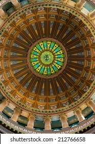 SPRINGFIELD, ILLINOIS - AUGUST 11: Inner dome from the rotunda floor of the Illinois State Capitol building on August 11, 2014 in Springfield, Illinois