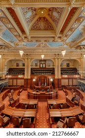 SPRINGFIELD, ILLINOIS - AUGUST 11: Newly renovated Senate chamber in the Illinois State Capitol building on August 11, 2014 in Springfield, Illinois