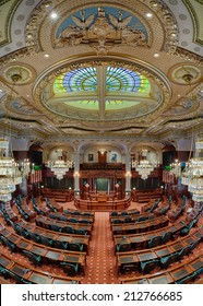 SPRINGFIELD, ILLINOIS - AUGUST 11: Newly renovated House of Representatives chamber in the Illinois State Capitol building on August 11, 2014 in Springfield, Illinois