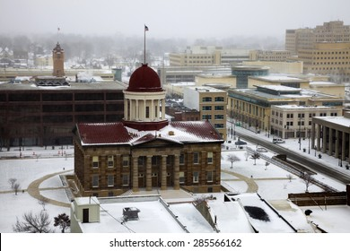 Springfield, Illinois - snow storm by Old State Capitol