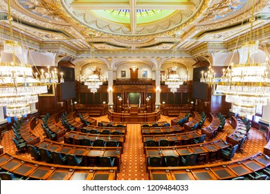 SPRINGFIELD, ILLINOIS, USA - JULY 11, 2018 - Interior of the Senate Chamber of the Illinois State Capitol in Springfield, Illinois.