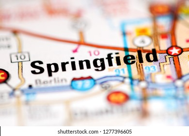 Springfield. Illinois. USA on a geography map