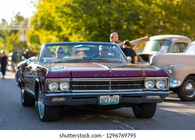 Springfield, Illinois, USA - September 22, 2018: The Route 66 Mother Road Festival, Buick Skylark being driven on the streets of downtown Springfield