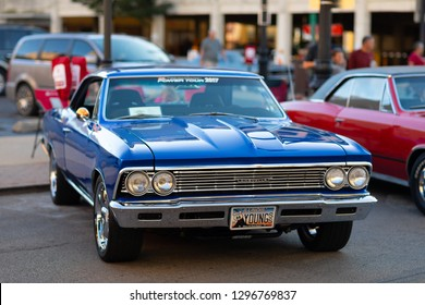 Springfield, Illinois, USA - September 22, 2018: The Route 66 Mother Road Festival, Chevrolet Chevelle Malibu, on the streets of downtown Springfield