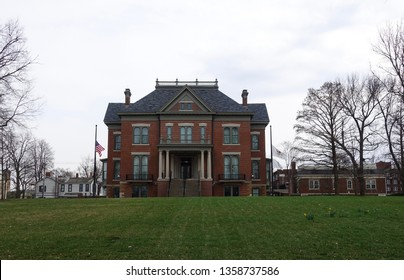 Springfield, Illinois/United States - 04/03/2019:  State of Illinois Governors Mansion in Springfield, Illinois.