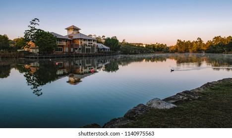 Springfield Lakes, Ipswich City, Australia - Tuesday 24th July, 2018: View of the lake and local business in Springfield Lakes during the day on Tuesday 24th July 2018.