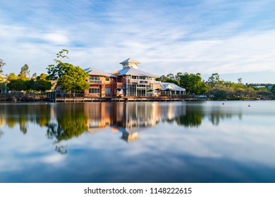 Springfield Lakes, Ipswich City, Australia - Wednesday 1st August, 2018: View of the lake and local business in Springfield Lakes during the day on Wednesday 1st August 2018.