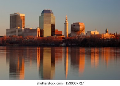 Springfield, MA, USA December 2, 2006 The skyline of Springfield Massachusetts is reflected in the calm waters of the Connecticut River