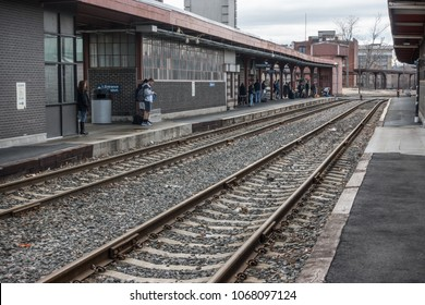 SPRINGFIELD, MASS. - APR. 2018: Passengers wait on platform, Springfield train station, which serves Amtrak.