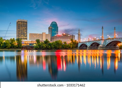 Springfield, Massachussetts, USA downtown skyline on the river.